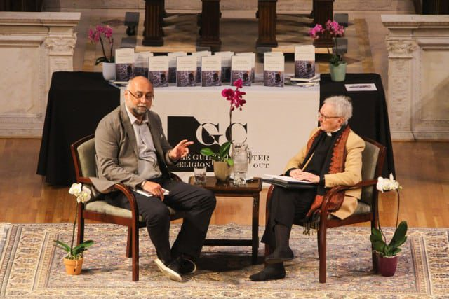 Amir Hussain and Gwynne Guibord seated Muslims in America